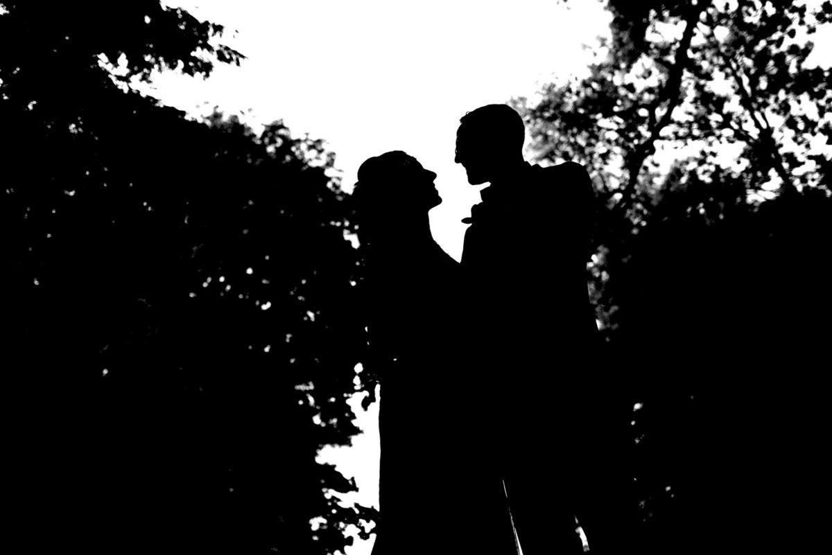 Silhouette Brautpaar,Bäume,Büsche