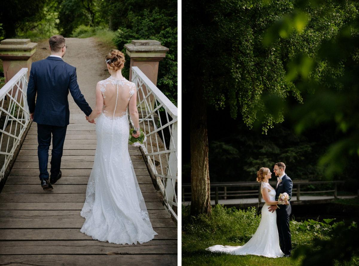 Brücke,weißes Geländer,Bäume,Rückansicht,Hand halten,laufen