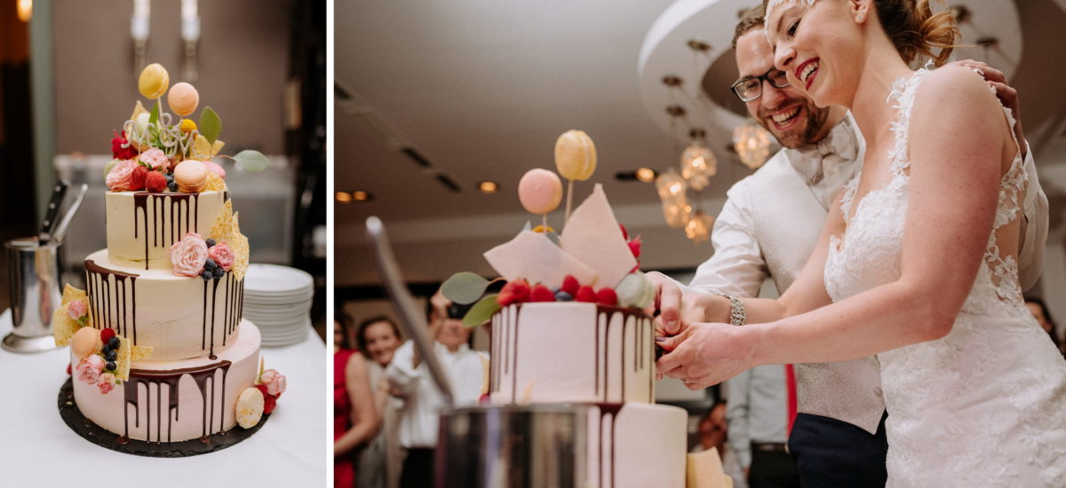 Hochzeitstorte mit Cakepops,anschneiden,