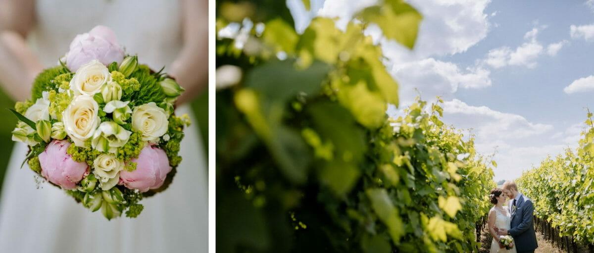 Brautstrauß,weiße Rosen,Weinreben,Hochzeitsbilder