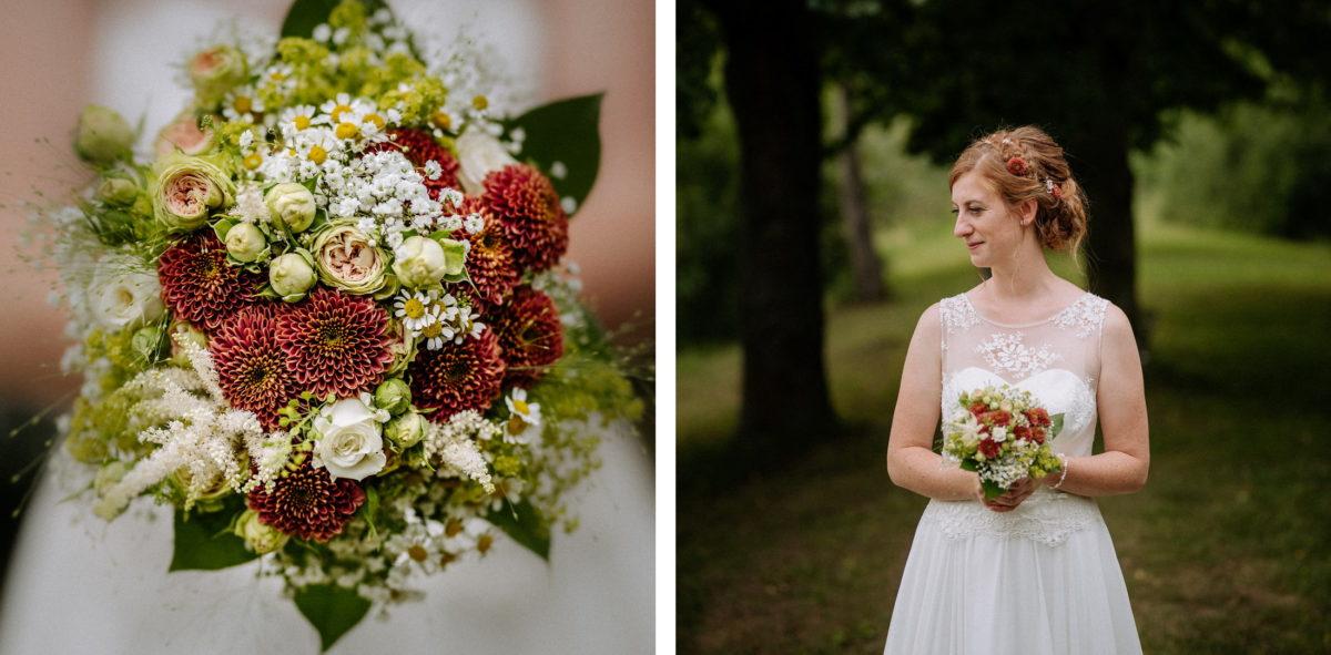 Brautstrauß,Hochzeitskleid,Bäume,