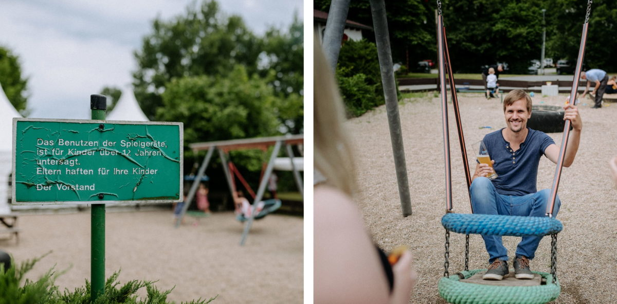 Kinderspielplatz,Schaukeln,Mann,Bierglas,Sand