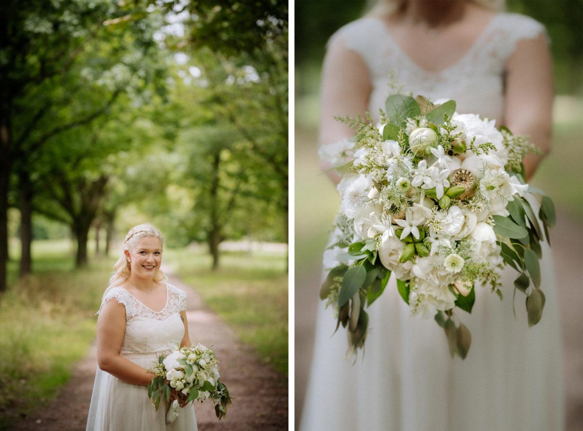 Braut,Hochzeitsshooting,weißer Brautstrauß