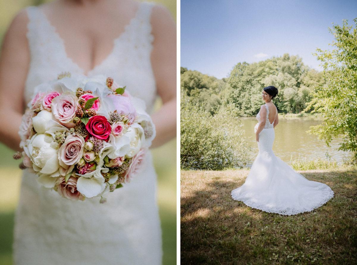 Brautstrauß.weiße Rosen,rote Rosen,V-Ausschnitt,See,sonne