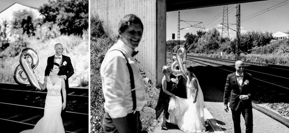 Bahngleise,Luftballon,Hochzeitsbilder,Strommast