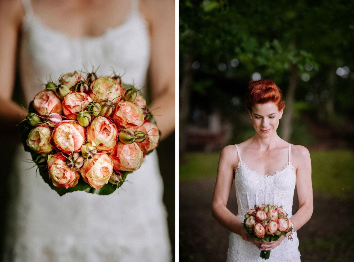 Braut,Brautstrauß,rote Haare,Corsagenbrautkleid