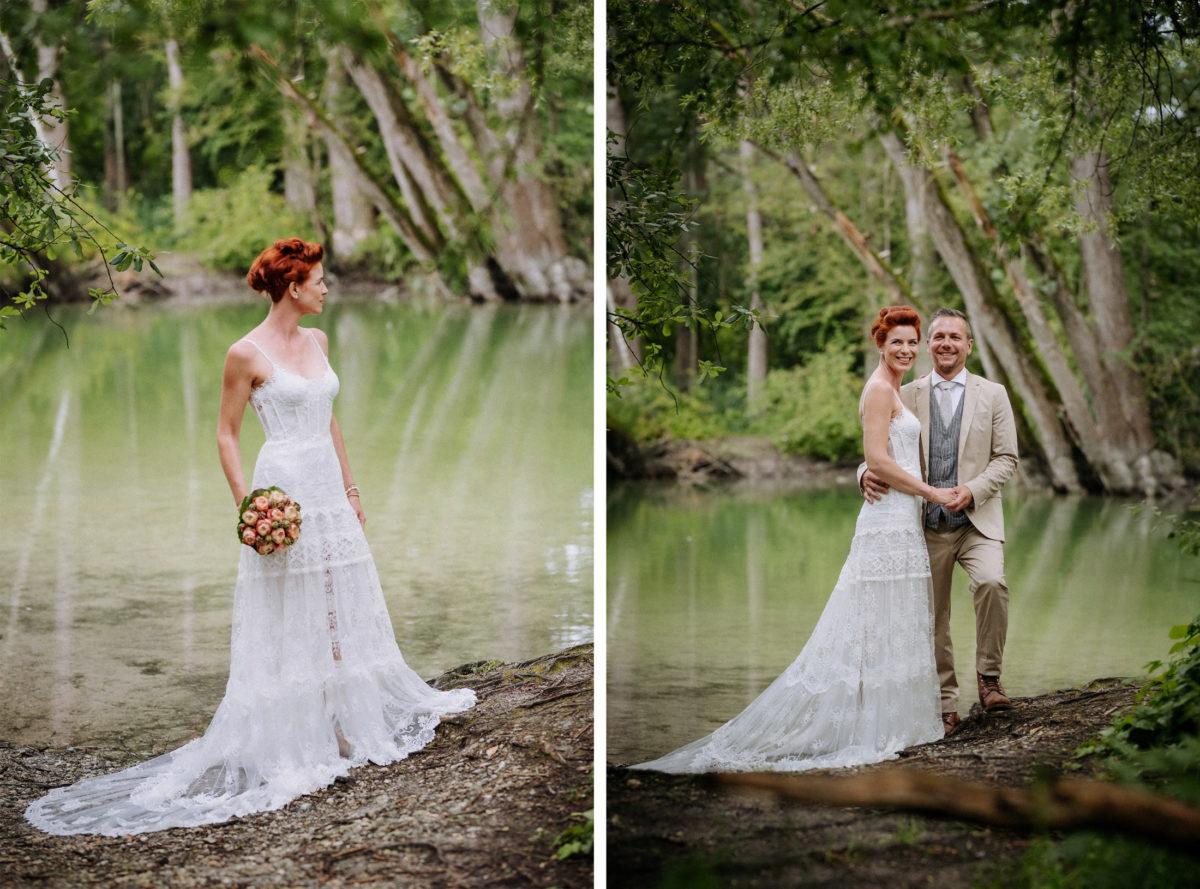 See,Bäume,Brautkleid,Brautstrauß,Paarshooting