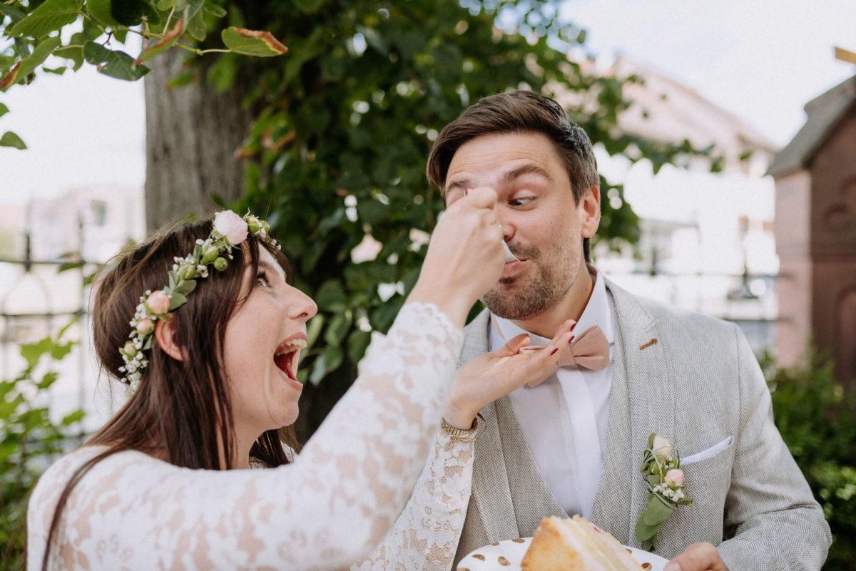 Löffel, füttern, Brautpaar, Torte, Kuchen, Blumenkranz