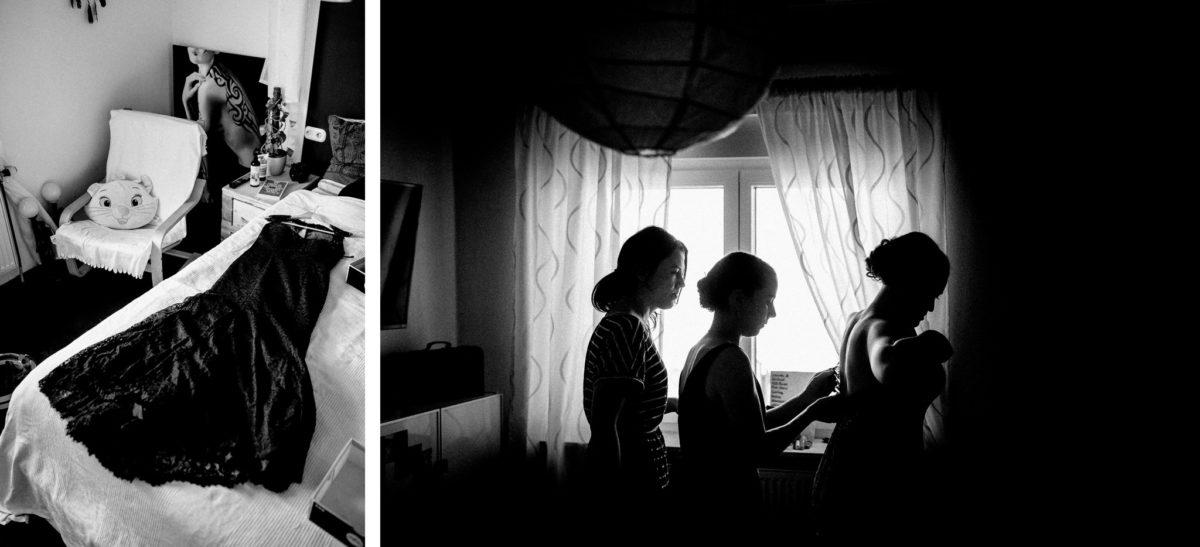 Brautkleid, schwarz, Kissen, Stuhl, Frauen, anziehen, Braut