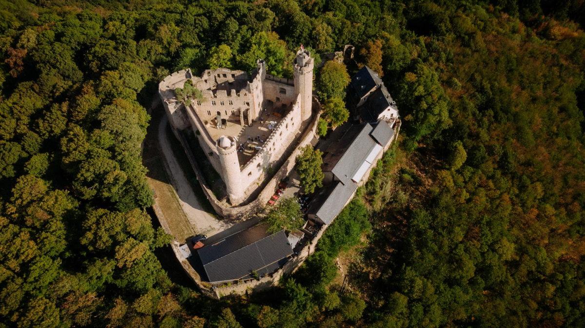 Drohne, Luftaufnahme, Schloss Auerbach, Bensheim, Darmstadt, Wald, Bäume