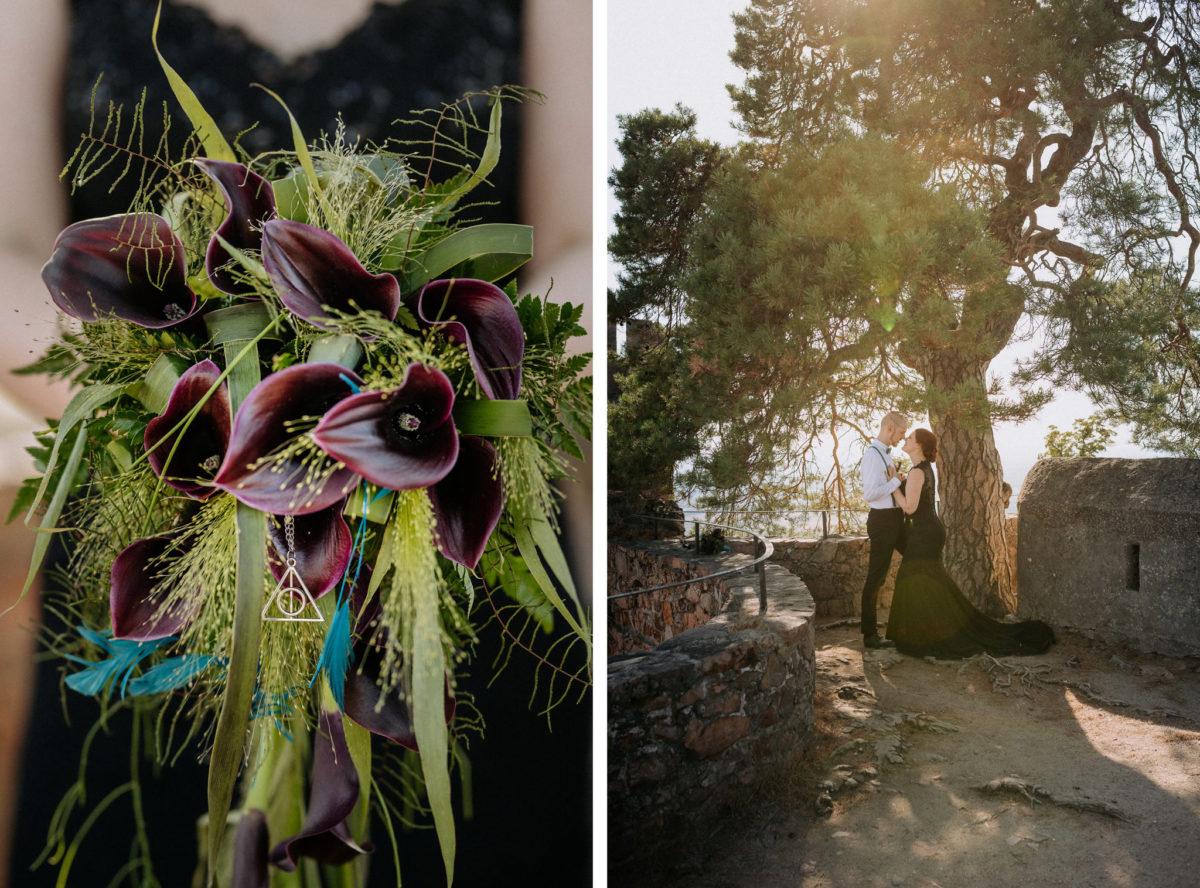 Brautstrauß, heiratne, Hochzeit, schwarzes Brautkleid, Baum, Ehepaar