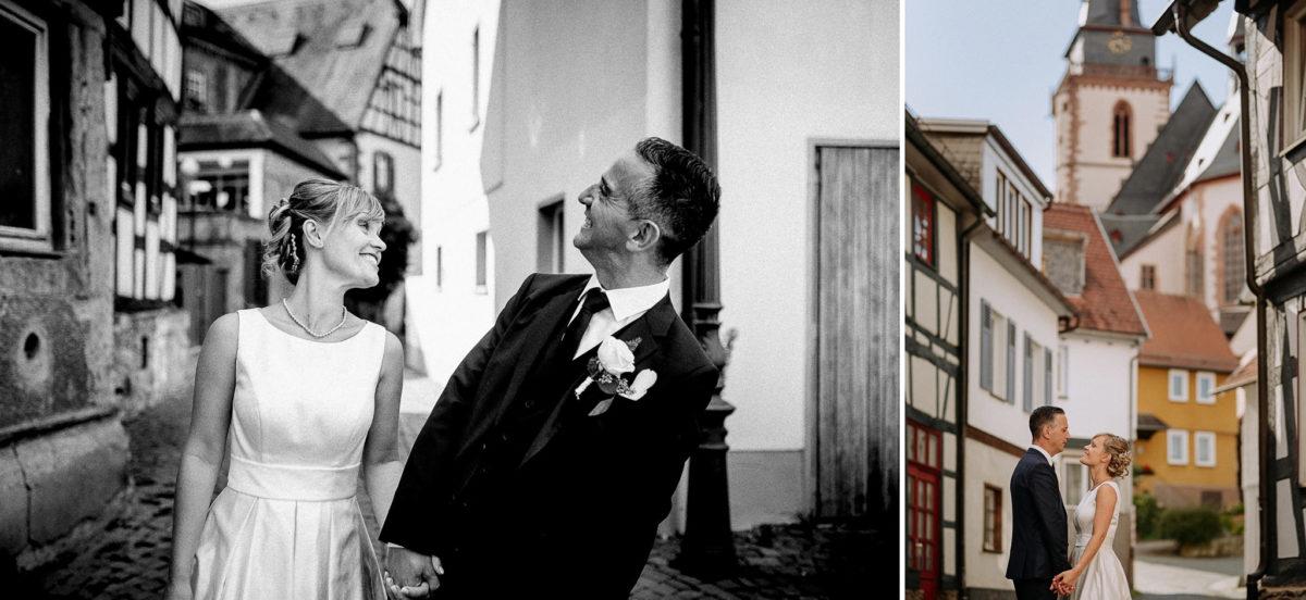 Spaß, Brautpaar, heiraten, Hochzeitsfotograf, Altstadt, Fachwerkhaus