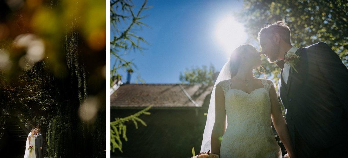 Brautpaar, Hochzeitsfotos, Pärchenbilder, Gegenlicht, verliebt, Hochzeitsfotograf