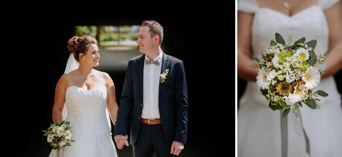heiraten, Hochzeitsfotografie, Brautpaar, Brautkleid, Brautstrauß