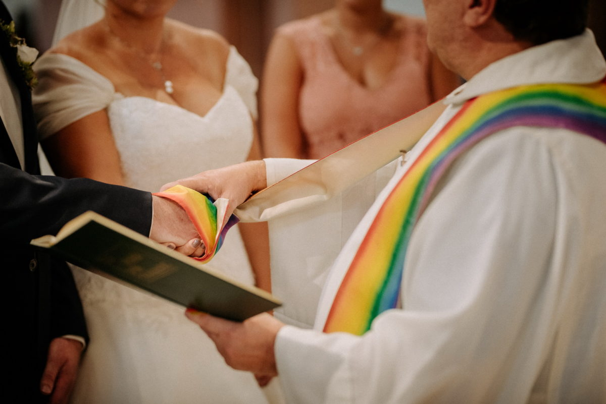 Hochzeitsfotografie, heiraten, Regenbogen, Trauung